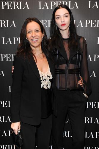 Stefania Valenti (vice presidente di La Perla) e Mariacarla Boscono  - Opening LA PERLA Milano