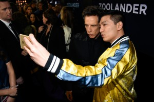 "NEW YORK, NY - FEBRUARY 09: Actor Ben Stiller (L) poses with Bryanboy at the ""Zoolander No. 2"" World Premiere at Alice Tully Hall"