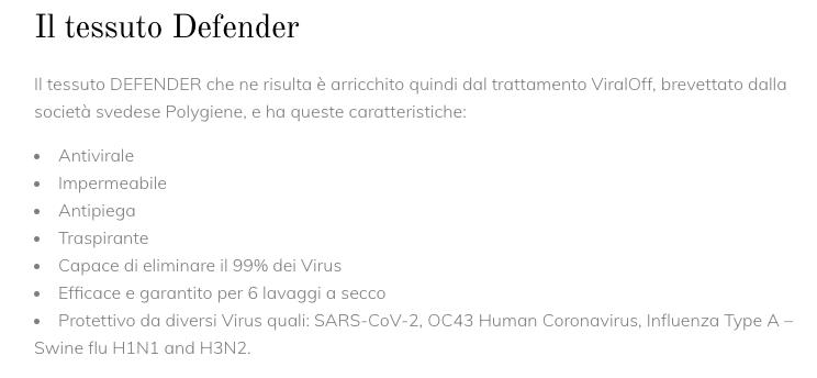 """La descrizione del tessuto """"Defender"""" dichiarato """"protettivo da diversi virus"""""""